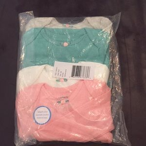 NWT 4p Carter's L/S Embroidered Heart Bodysuit